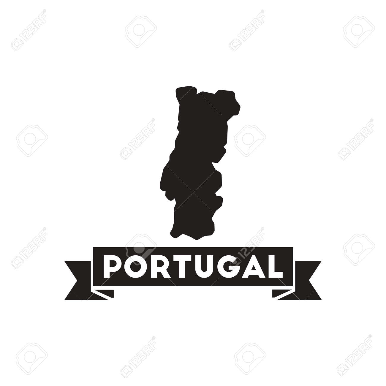 Flat Icon In Black And White Portugal Map Royalty Free Cliparts - Portugal map black and white