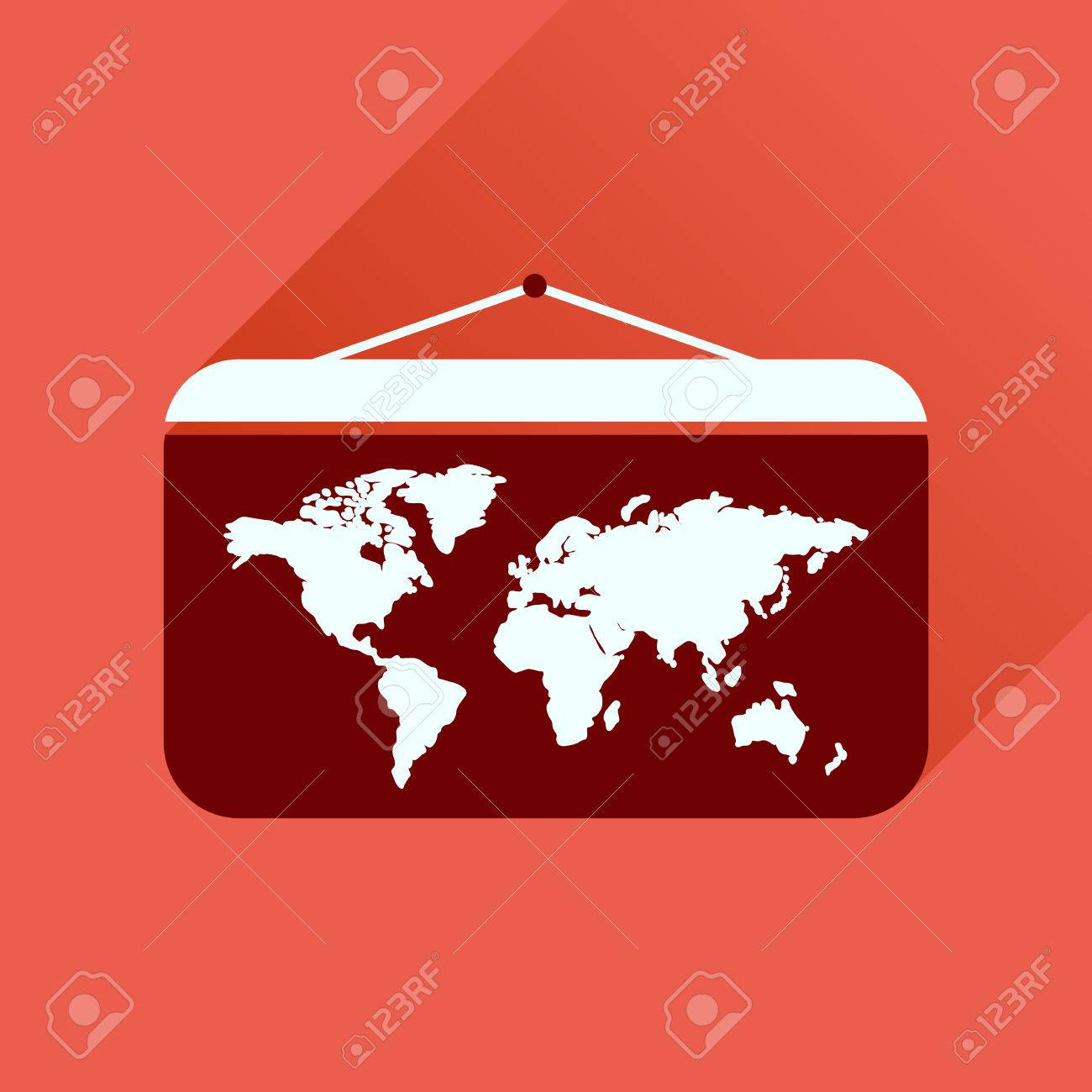 Flat icon with long shadow world map royalty free cliparts vectors flat icon with long shadow world map stock vector 60110288 gumiabroncs Images