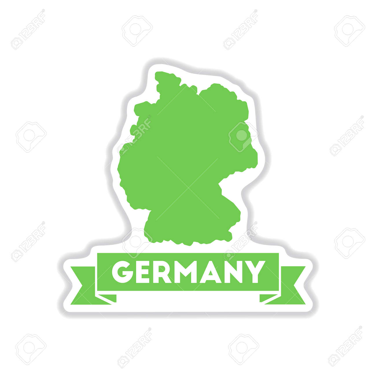 paper sticker on white background Germany map - 60063194