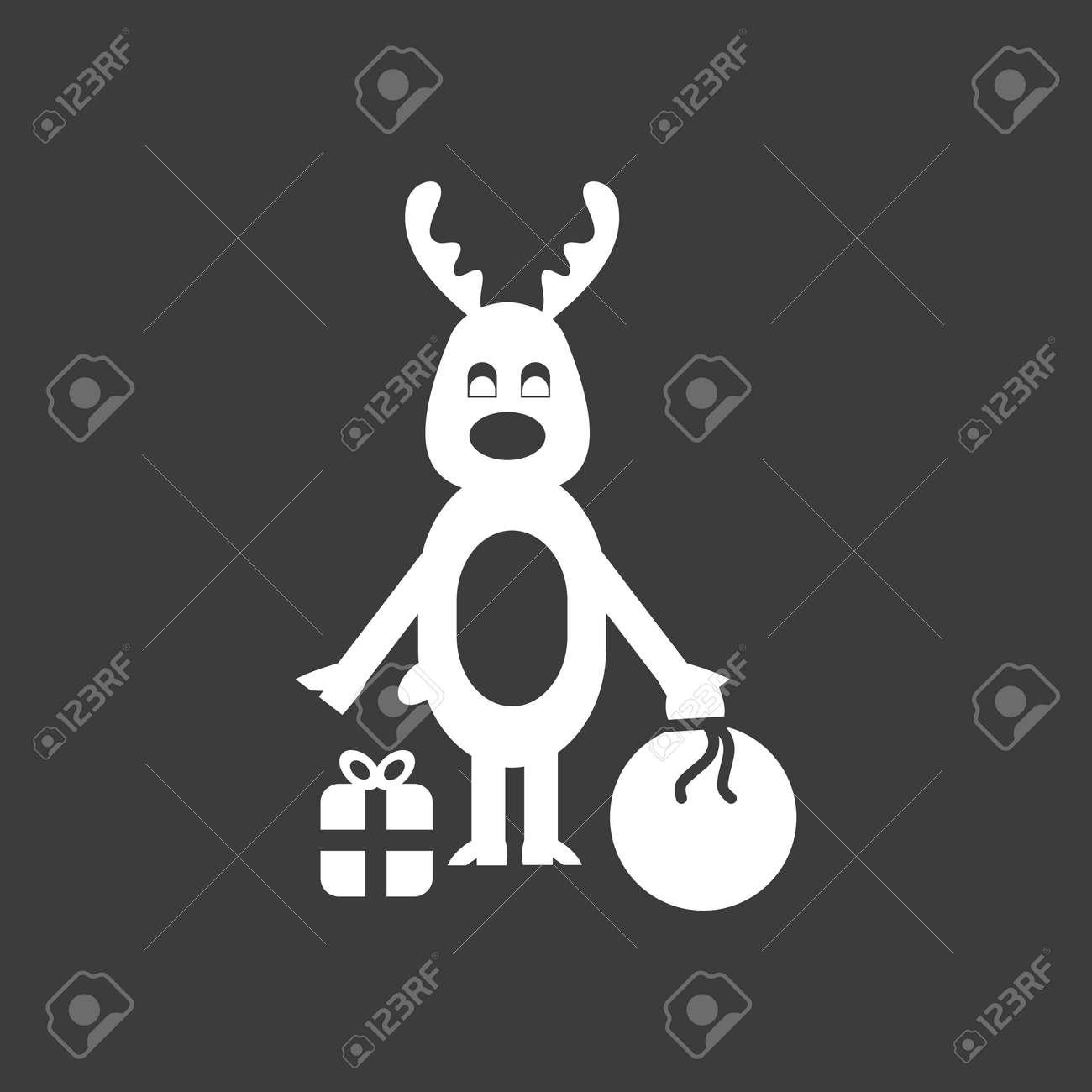 Icone Plat Dans Le Style Noir Et Blanc Renne De Noël