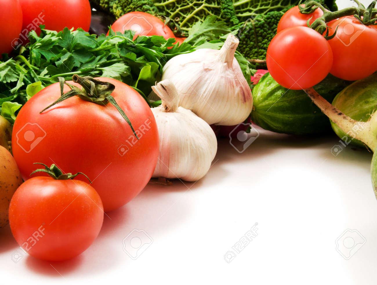 cabbage, squash, broccoli, pepper, tomatoes, onion on white background Stock Photo - 2736973
