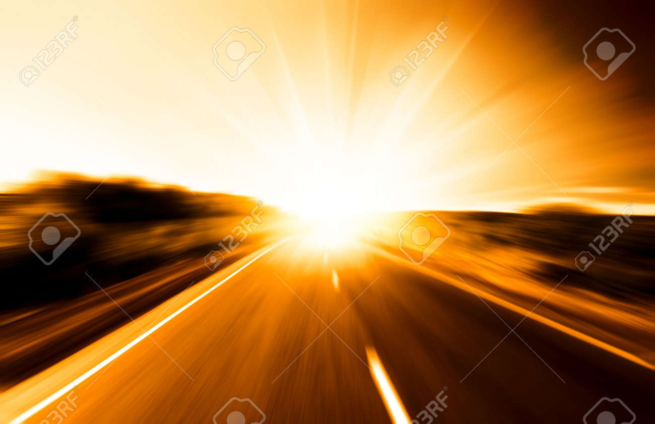 motion blur road and sun Stock Photo - 3773198