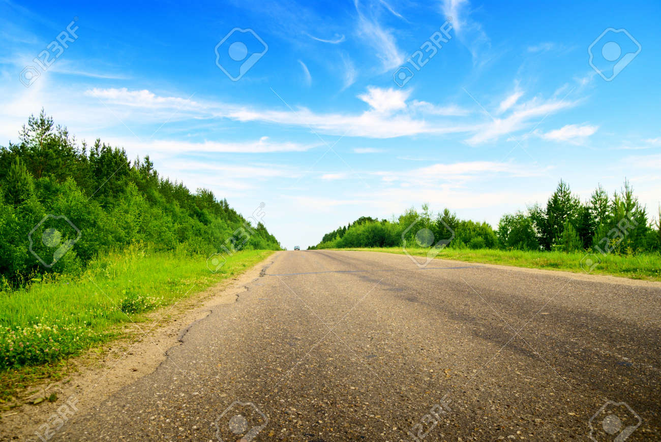 road and sunny summer day Stock Photo - 4635399