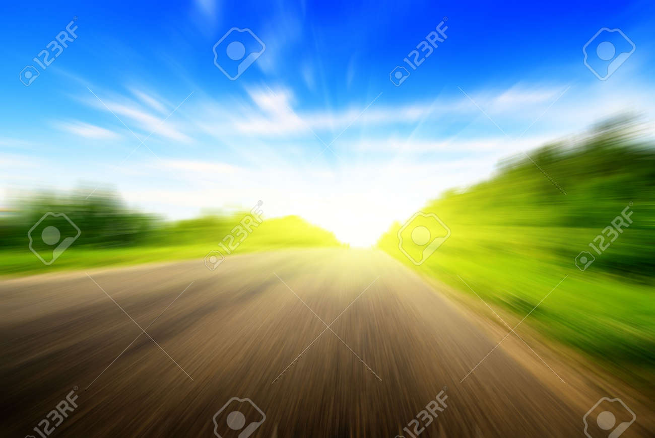 motion blur road and sun Stock Photo - 4736314