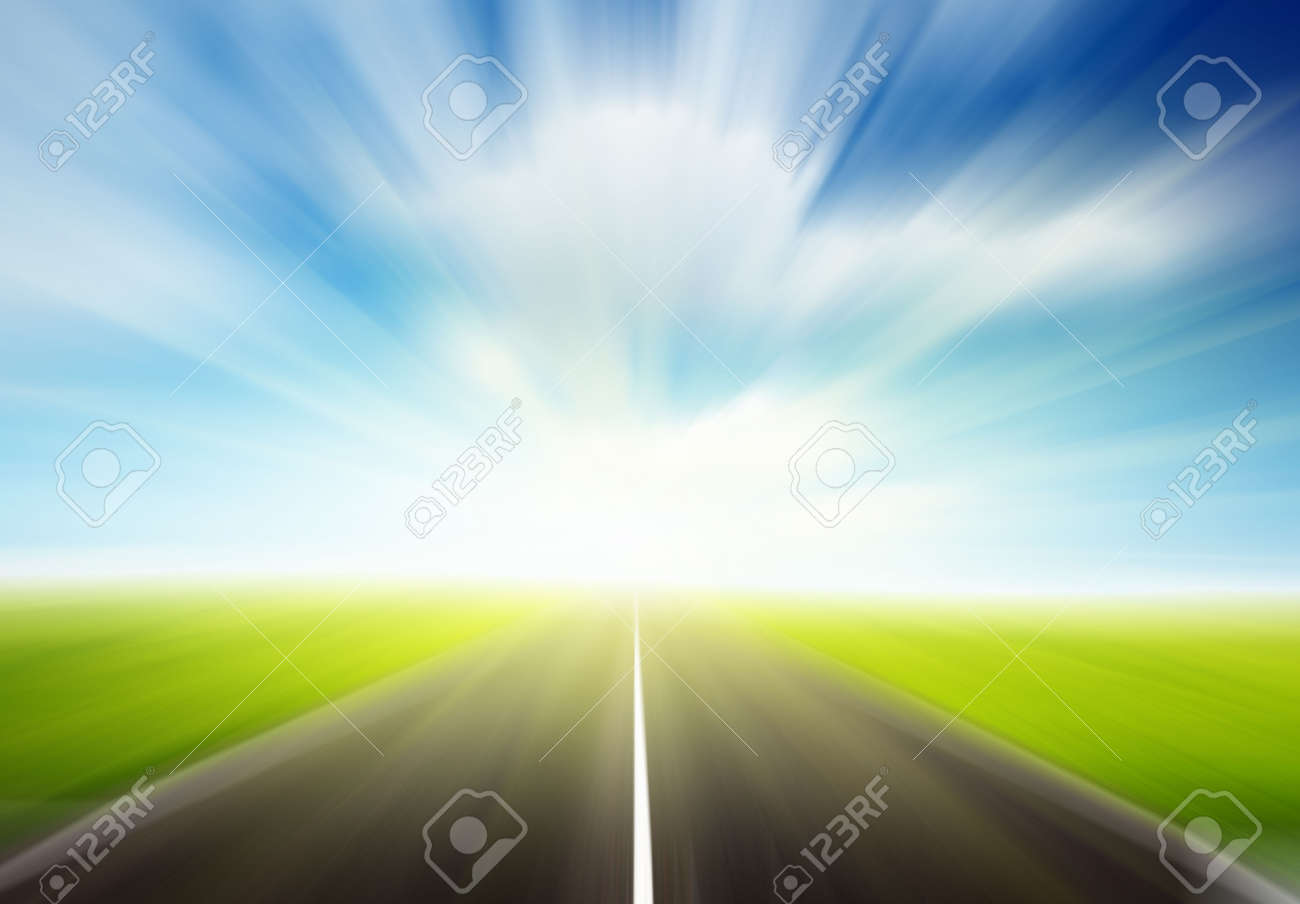 green field and motion blur road Stock Photo - 5801113