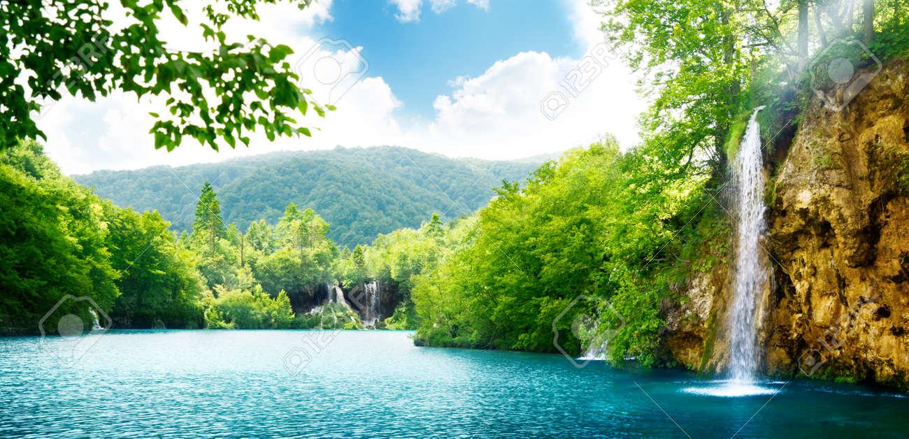 waterfall in deep forest of Croatia - 8731013