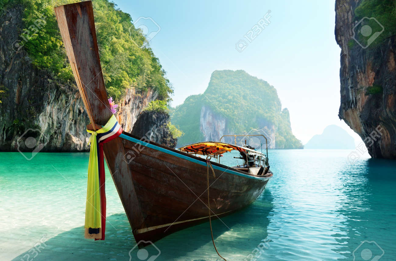boat and islands in andaman sea Thailand Stock Photo - 10035941