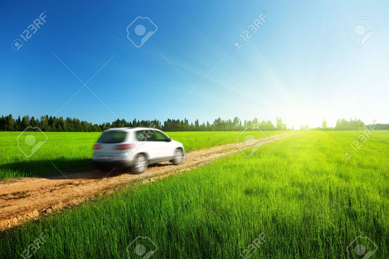 spring field and blured car on ground road Stock Photo - 12352998
