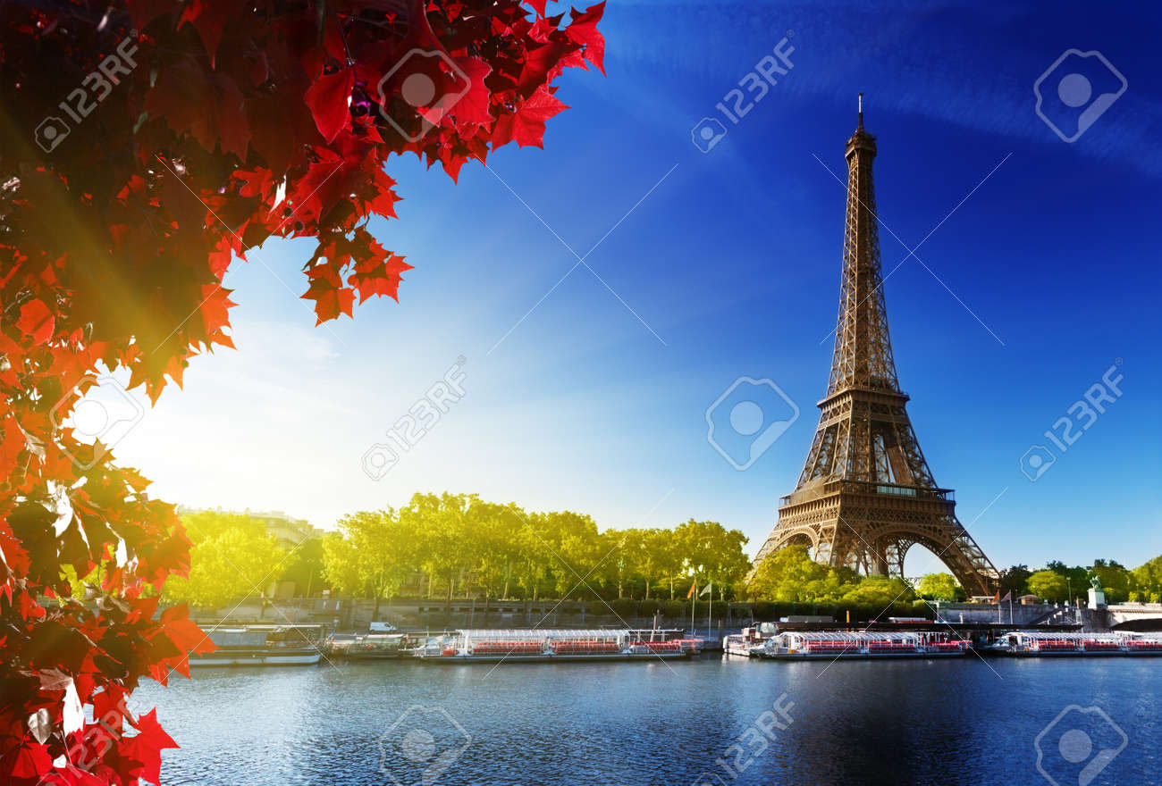 Seine in Paris with Eiffel tower in autumn time - 15091372