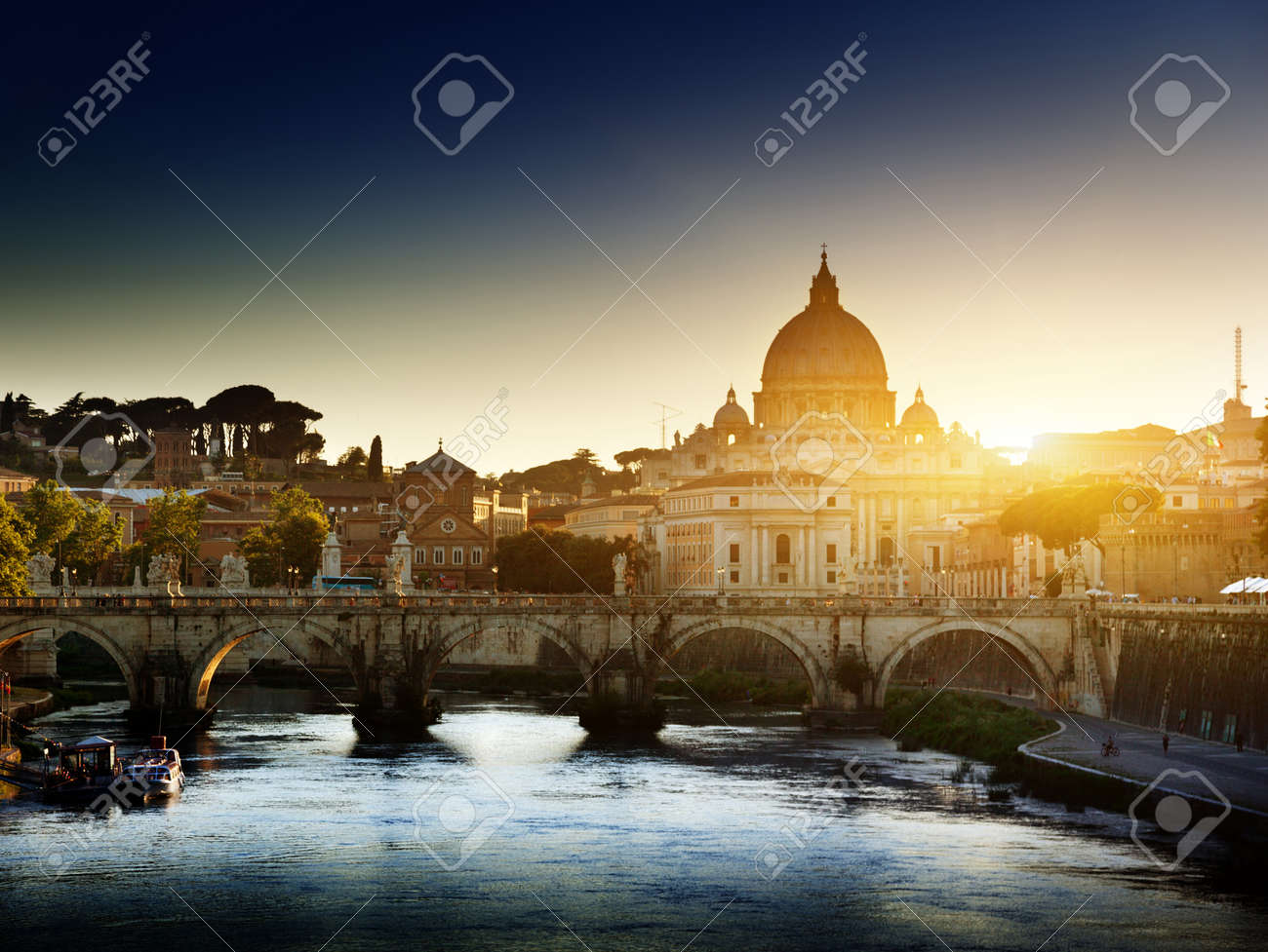 view on Tiber and St Peter Basilica in Vatican Stock Photo - 15146908