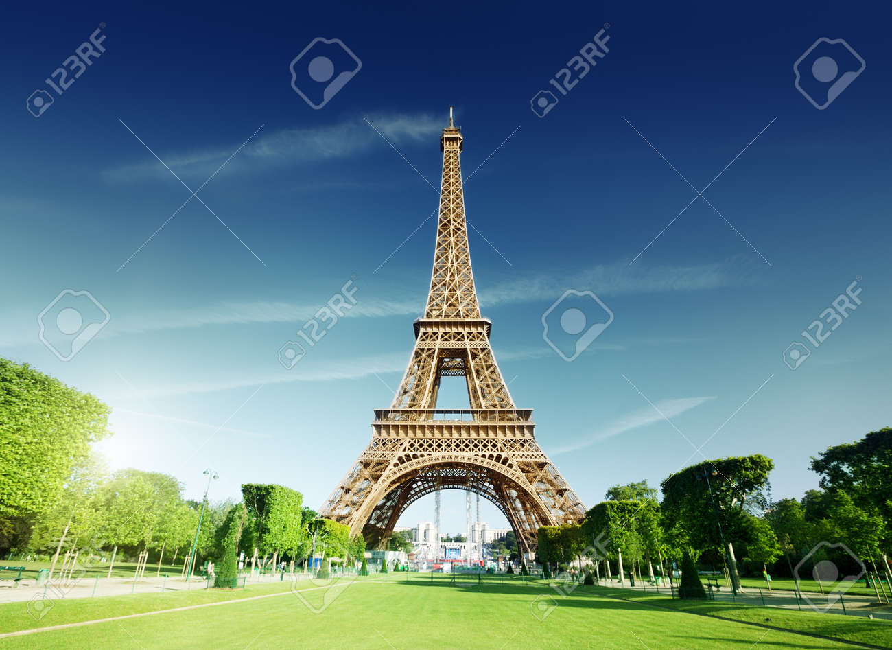 Sunny Morning And Eiffel Tower Paris France Stock Photo Picture And Royalty Free Image Image 16214971