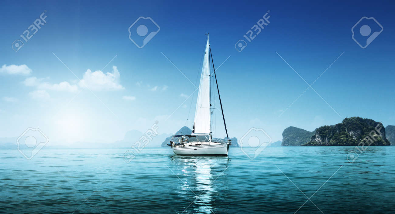yacht and blue water ocean Stock Photo - 16306725
