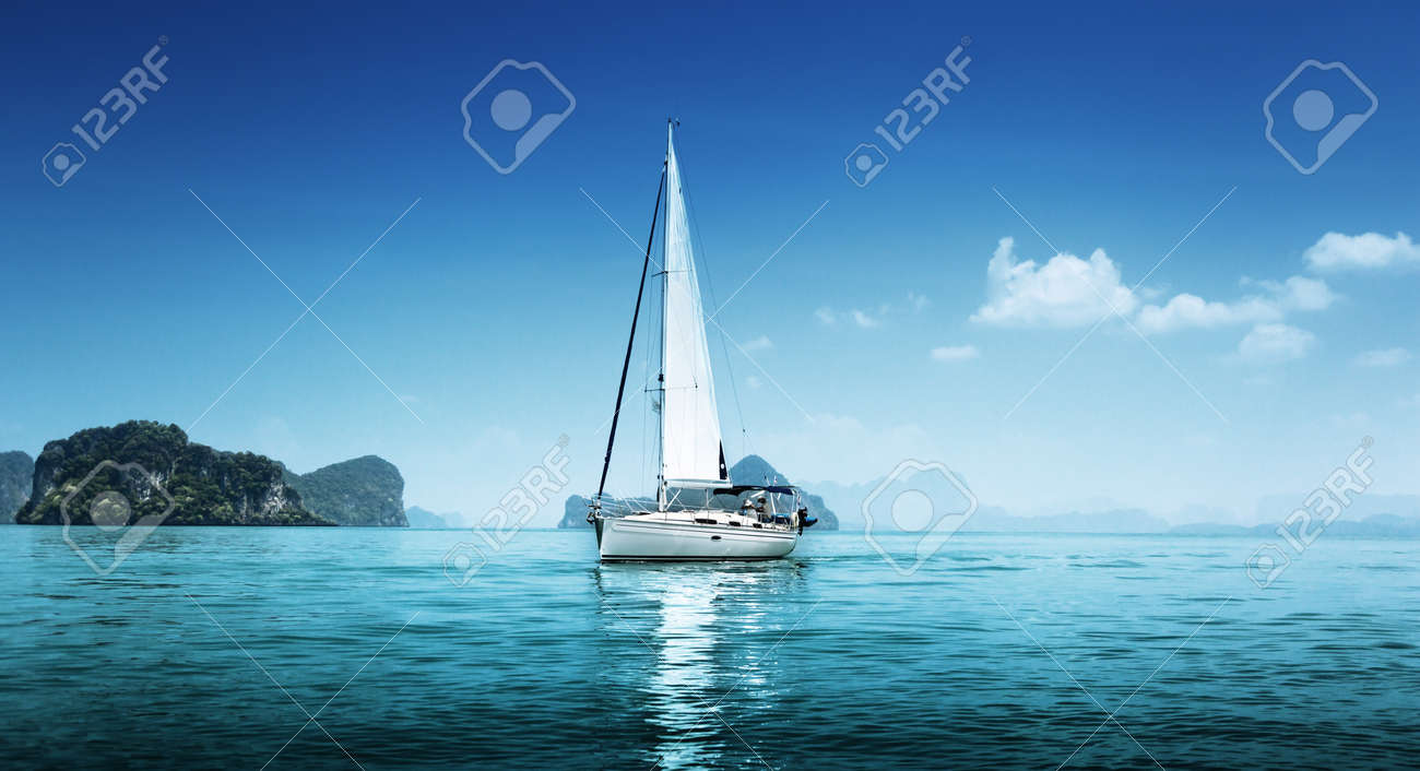 yacht and blue water ocean - 16504169