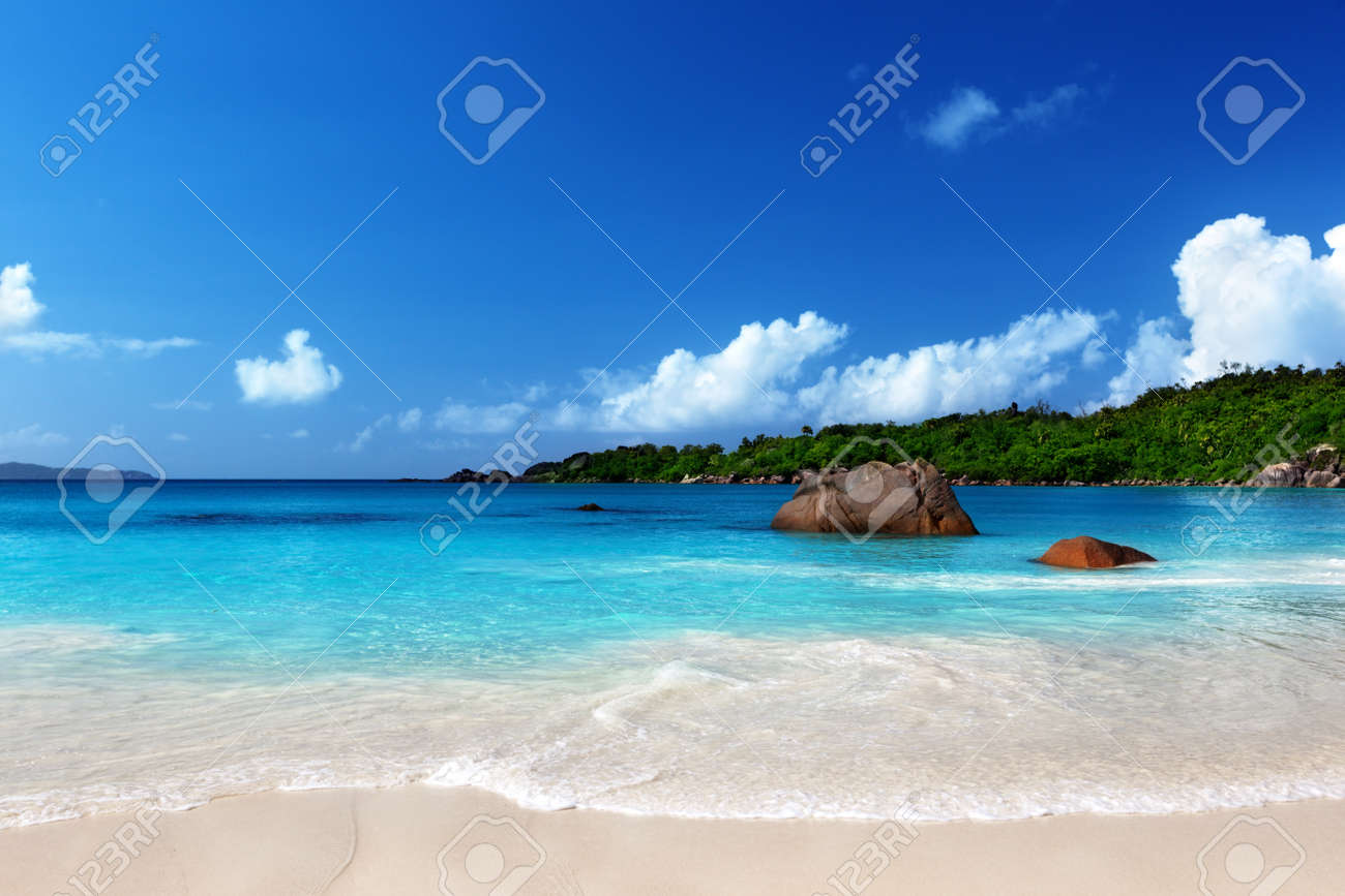 Anse Lazio beach at Praslin island, Seychelles Stock Photo - 16980485