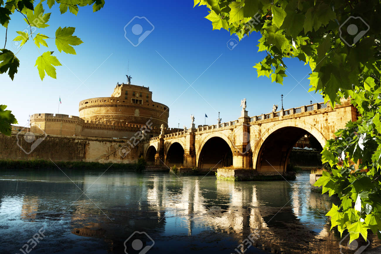 Saint Angel Fortress  and Tiber river in Rome, Italy  Stock Photo - 17465762