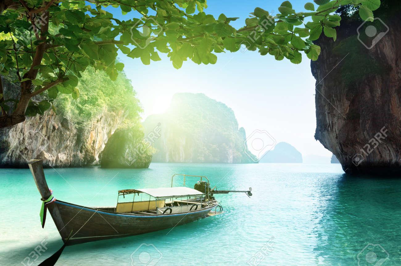 boat on beach of island in Krabi Province, Thailand Stock Photo - 18819069