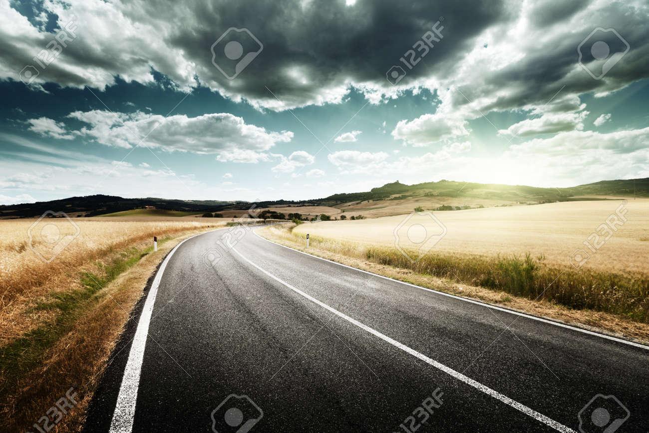 asphalt road in Tuscany, Italy Stock Photo - 19243309