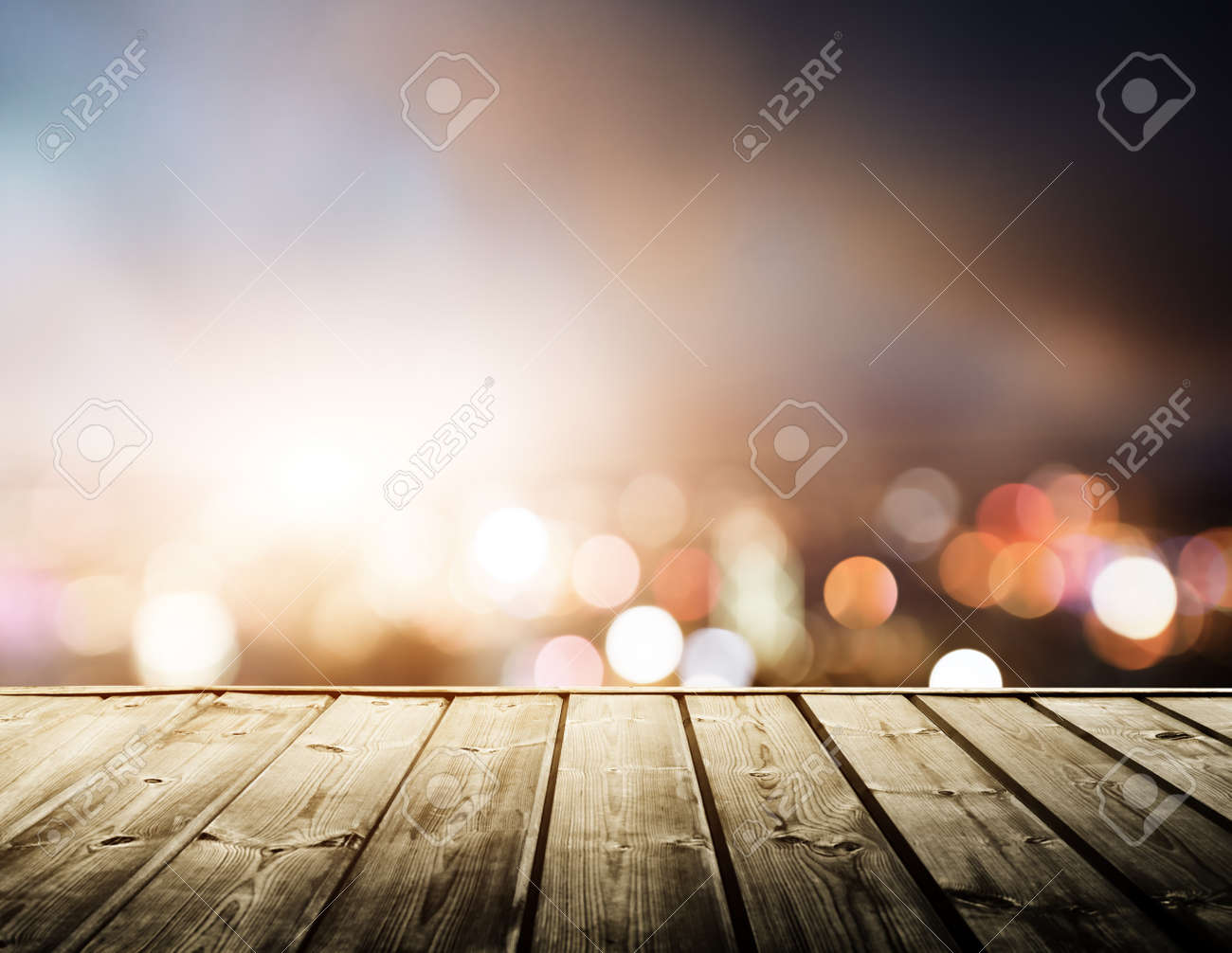 wooden platform and lights of night Hong Kong Stock Photo - 22412776