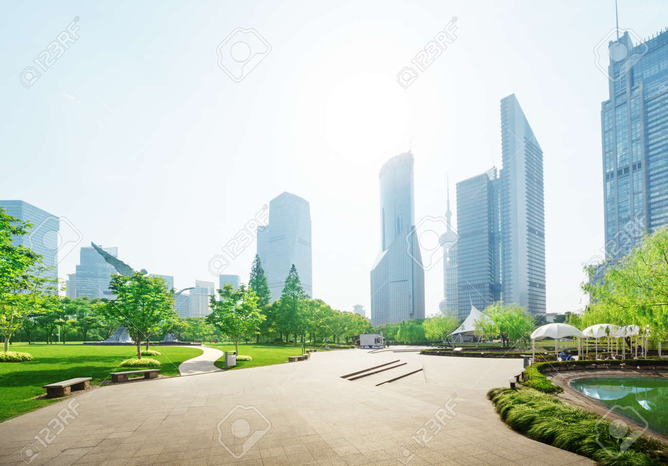 park in lujiazui financial center, Shanghai, China Stock Photo - 41928830