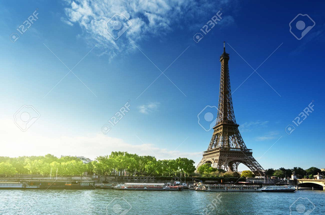 Seine in Paris with Eiffel tower in sunrise time - 44288531