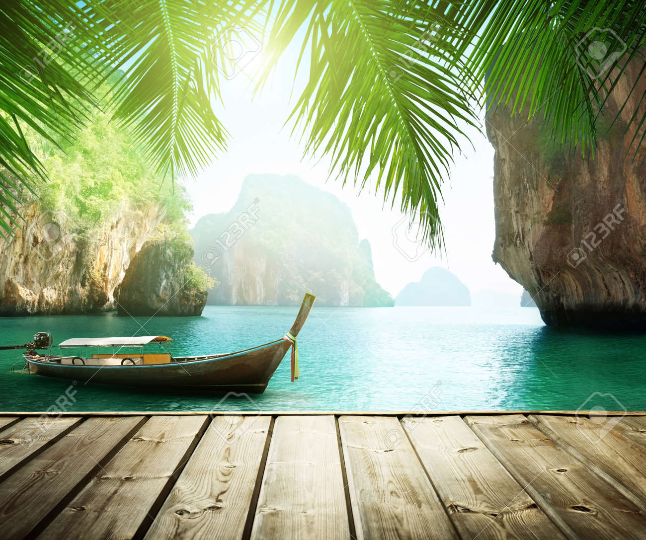 Adaman sea and wooden boat in Thailand - 50932502