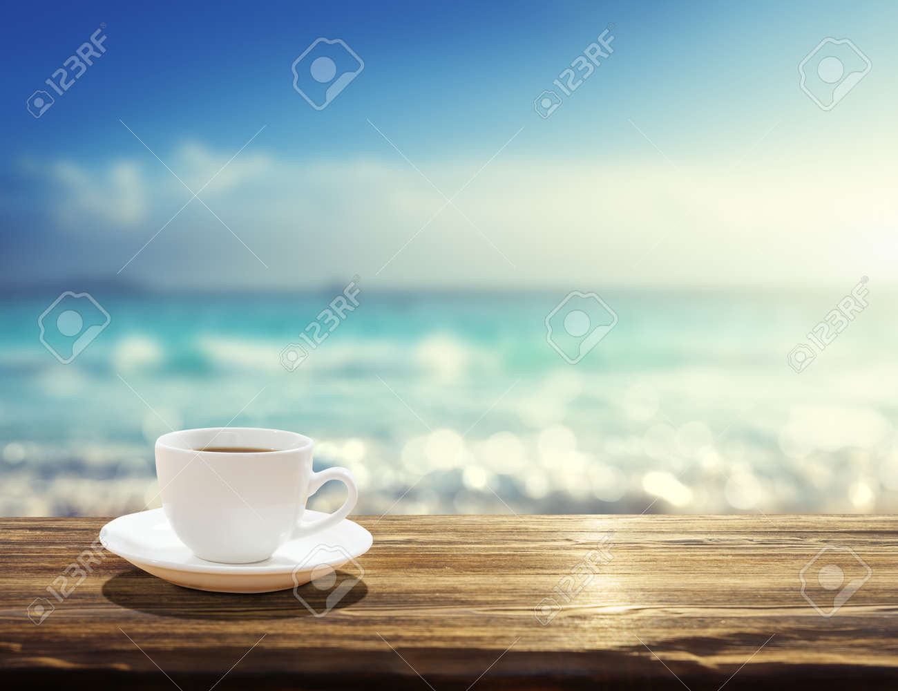 sea and cup of coffee - 51293870