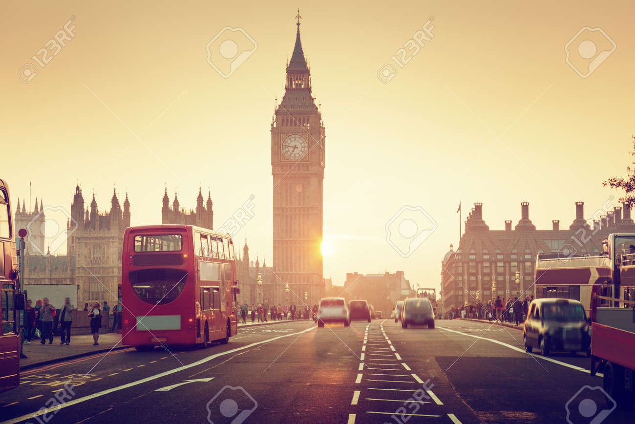 Westminster Bridge at sunset, London, UK - 53537827