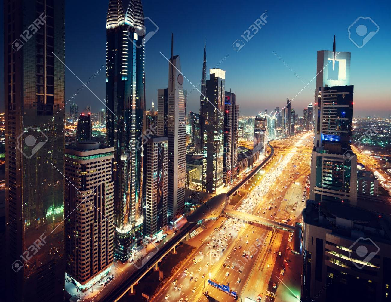 Dubai skyline in sunset time, United Arab Emirates - 55482155