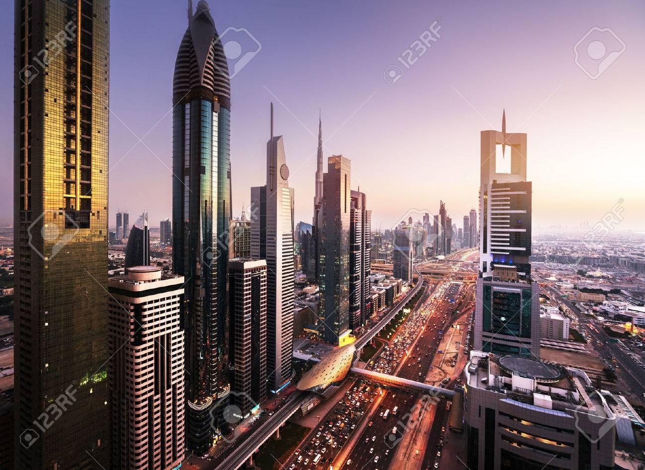 Dubai skyline in sunset time, United Arab Emirates - 55482317