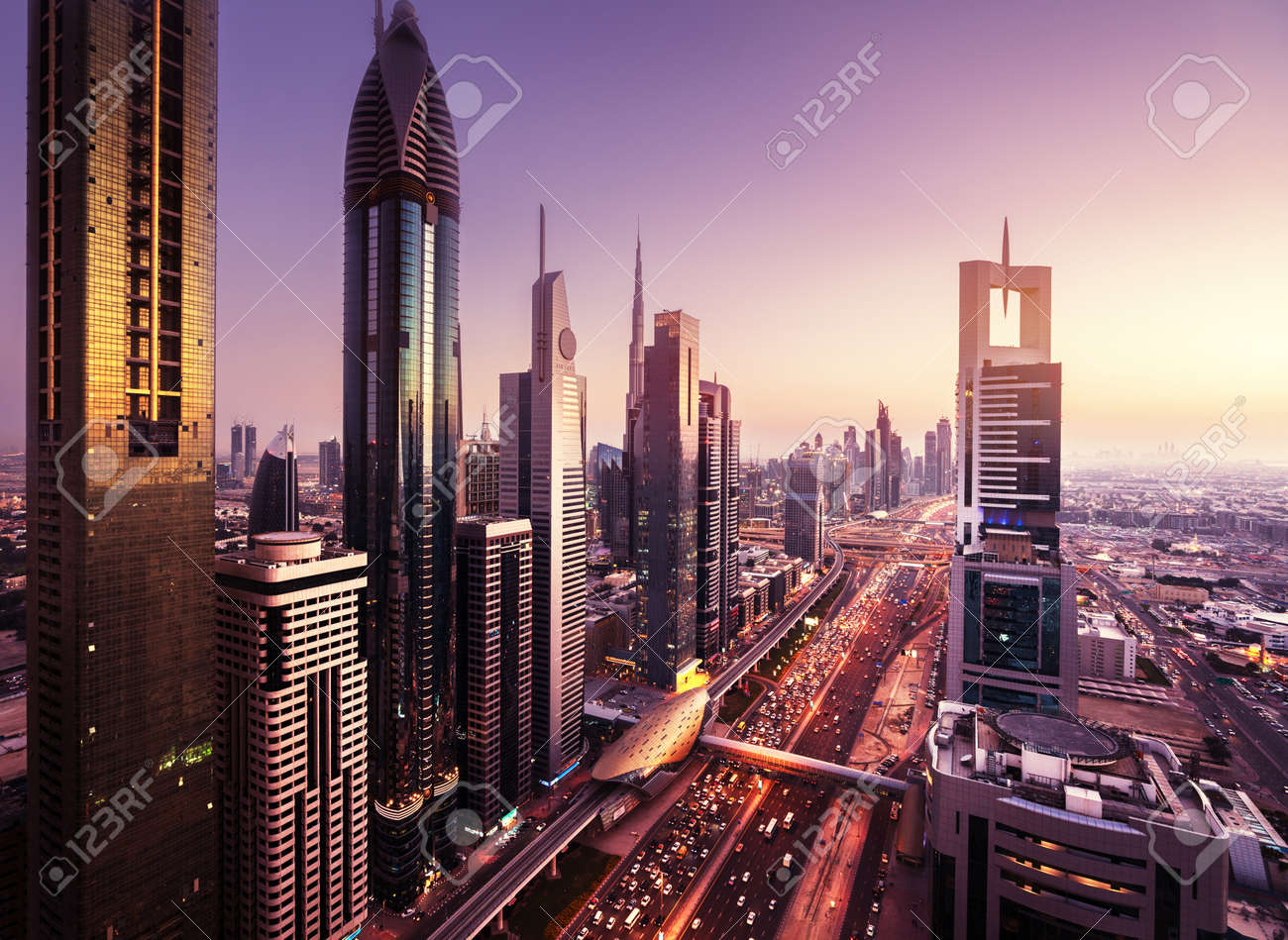 Dubai skyline in sunset time, United Arab Emirates - 55482472