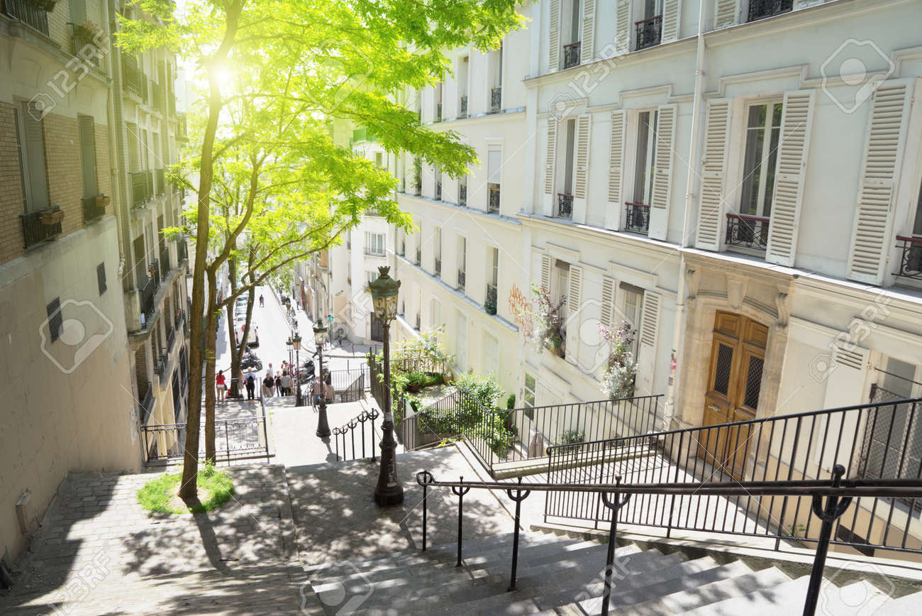 morning Montmartre staircase in Paris, France - 56410883