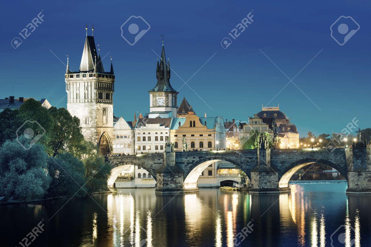 Charles bridge in sunset time, Prague , Czech Republic - 61140074