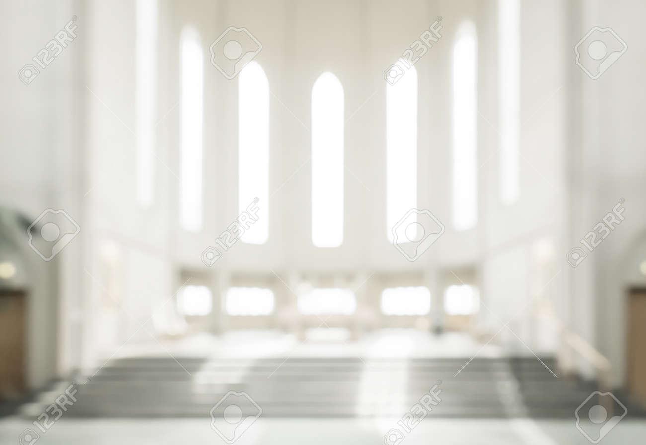 bokeh interior of modern lutheran, christian church - 61140094