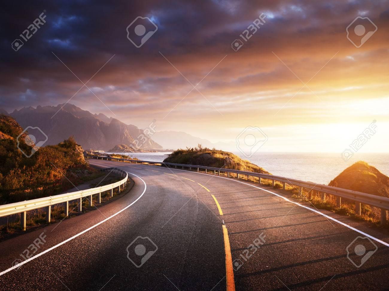 oad by the sea in sunrise time, Lofoten island, Norway - 67818798