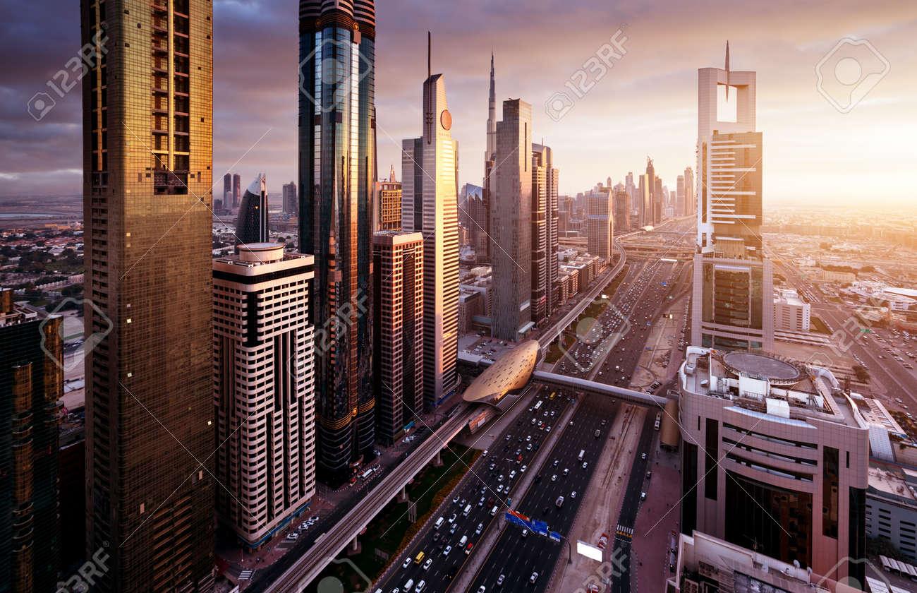 Dubai skyline in sunset time, United Arab Emirates - 68524388