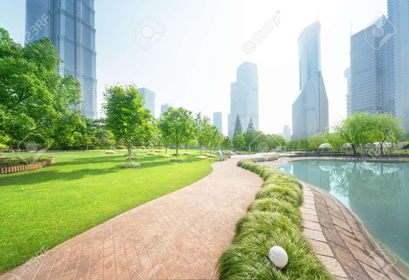 park in lujiazui financial center, Shanghai, China - 103437070