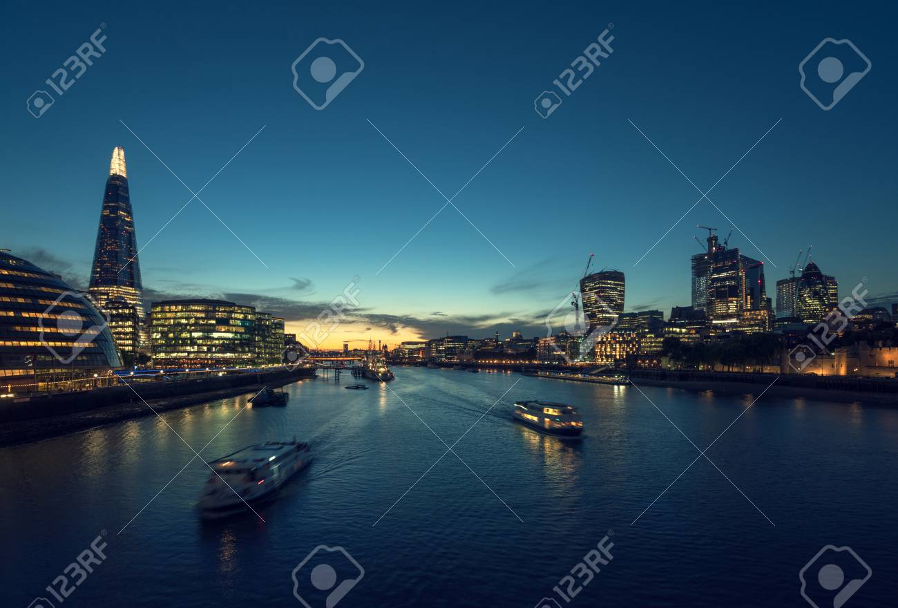 sunset in London, river Thames from Tower Bridge, UK - 124897630