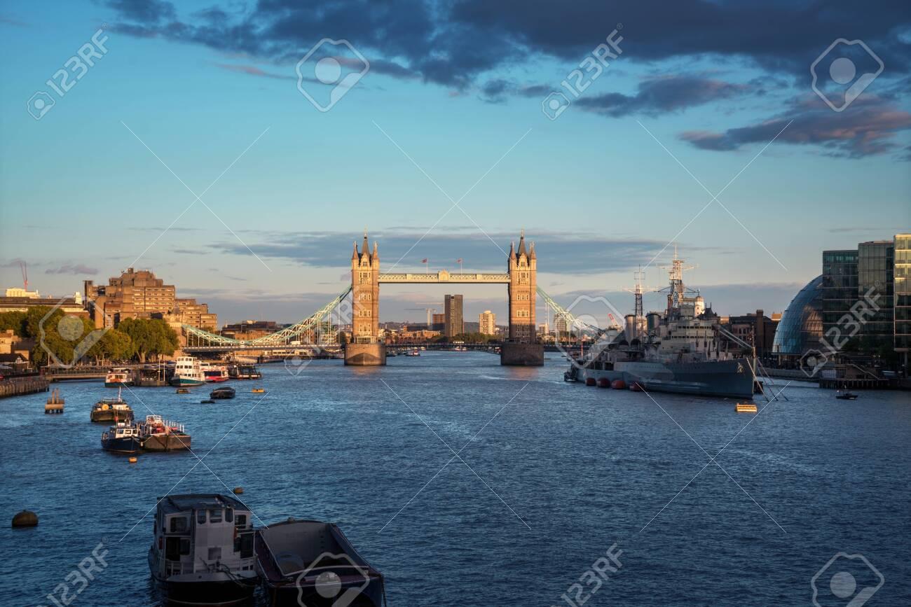 Tower Bridge at sunset, London, UK - 141348654