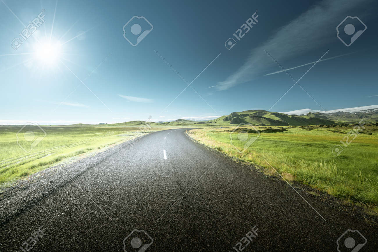 road in summer sunny Iceland - 156991867