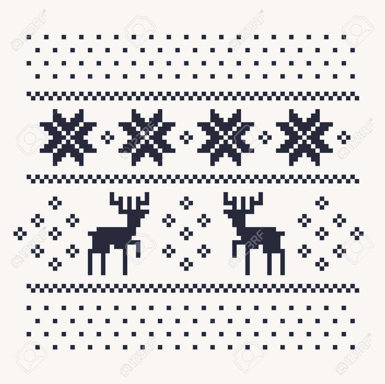 Motif De Lhiver Noël Pour Imprimer Maillot Ou T Shirt Cerfs De Pixels Et Des Flocons De Neige Sur Le Fond Blanc