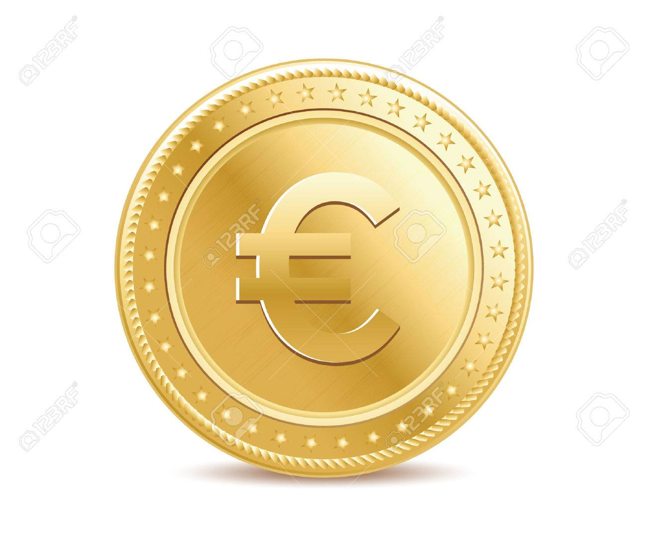 Golden isolated euro coin on the white background - 40016315