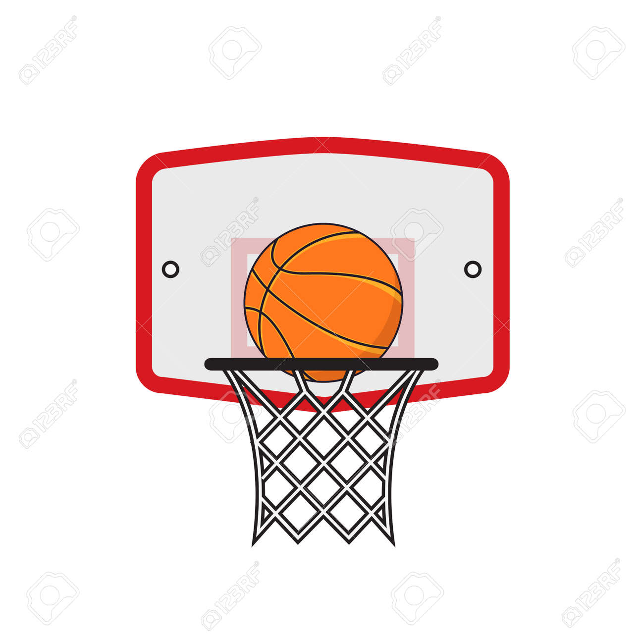 Basketball Hoop And Orange Ball On The White Background Royalty Free