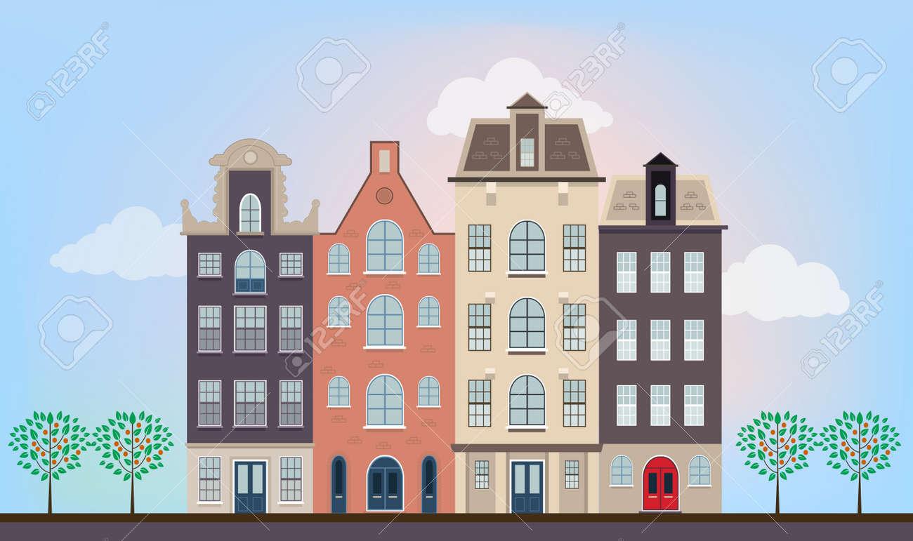 Schön Häuser Stile Ideen Von Standard-bild - Städtische Europäischen Häuser In Verschiedenen