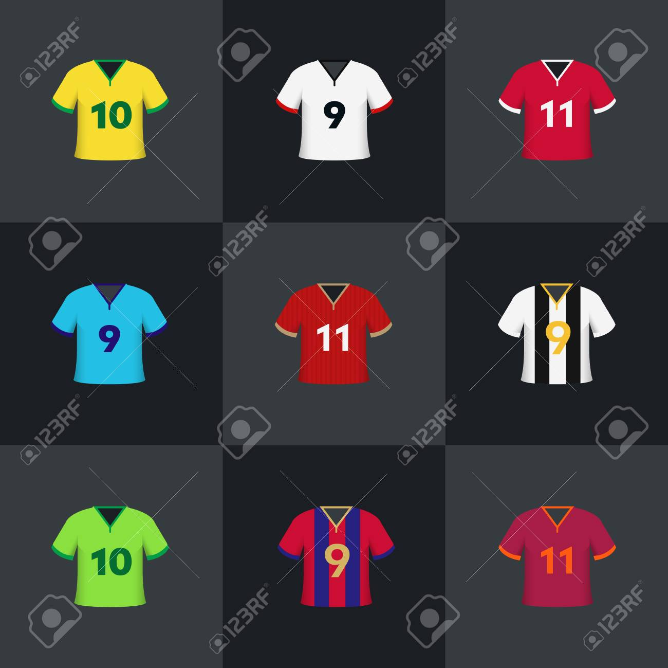 92fc9a490 Soccer Football Shirts Illustration Vector Set Royalty Free Cliparts ...