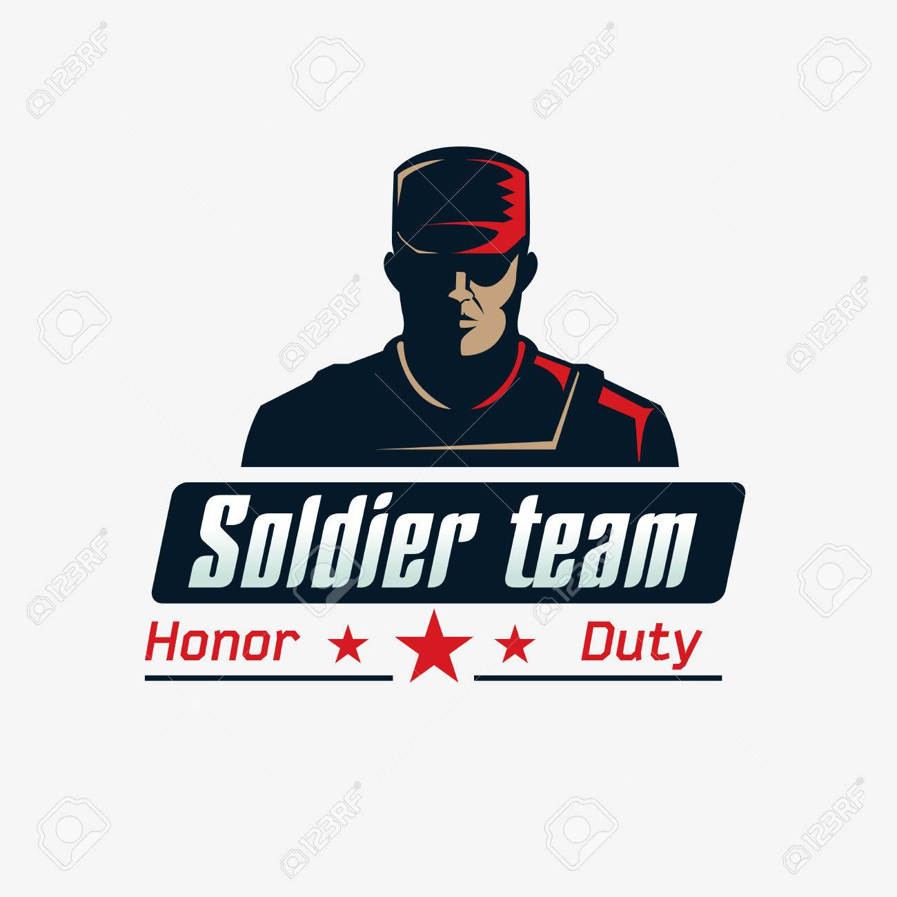 soldier team logo template serious man in bulletproof vest and