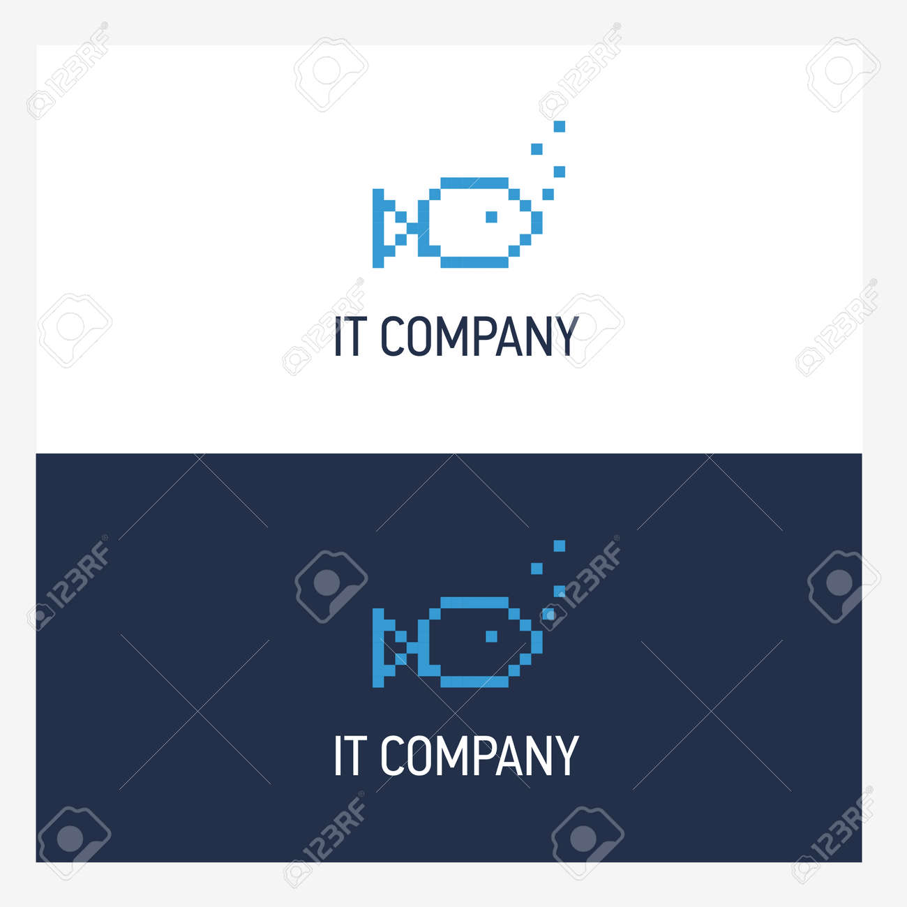 pixel fish logo design template with square style it company