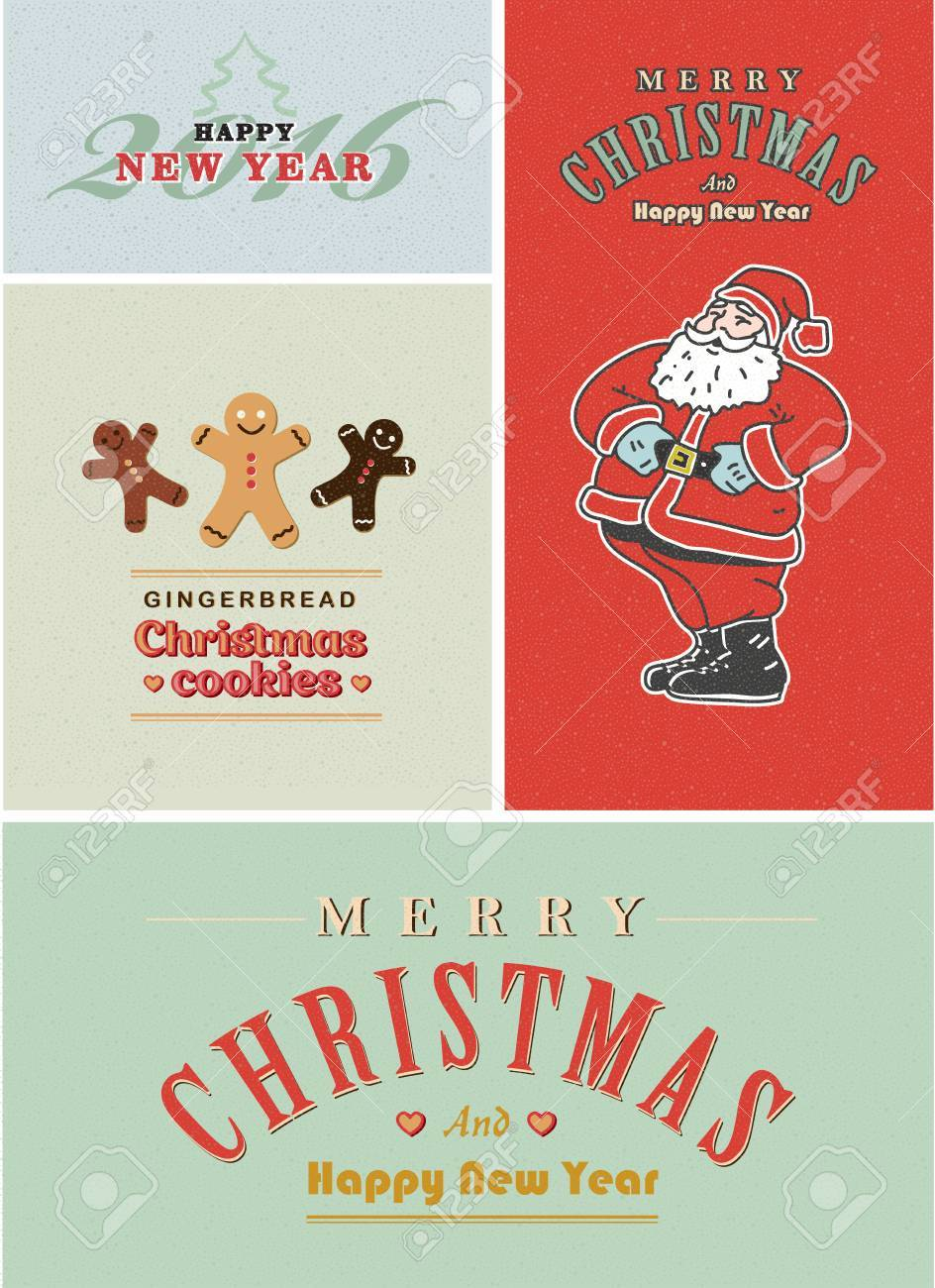 vector vintage retro christmas card set old fashioned santa claus gingerbread and old style lettering