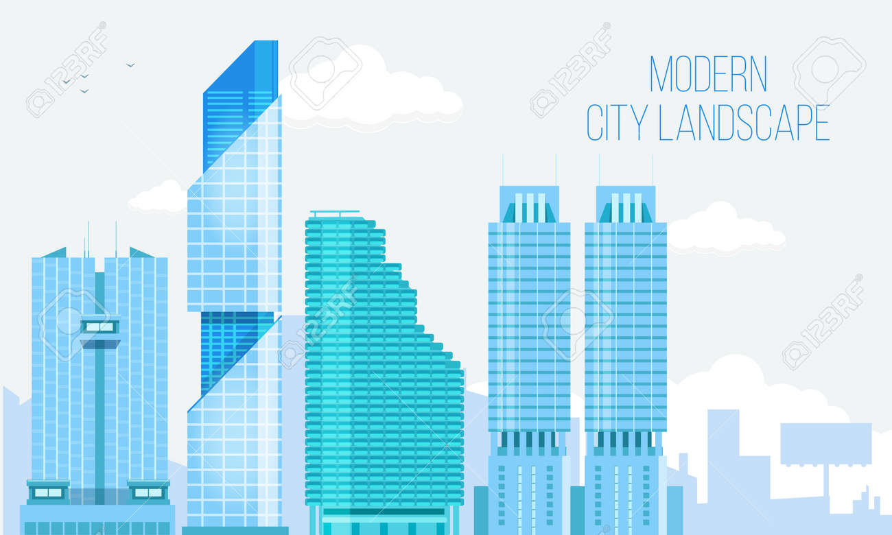 Modern City View Skyscraper Cityscape Background with Copy Space. Vector Illustration. - 54509581