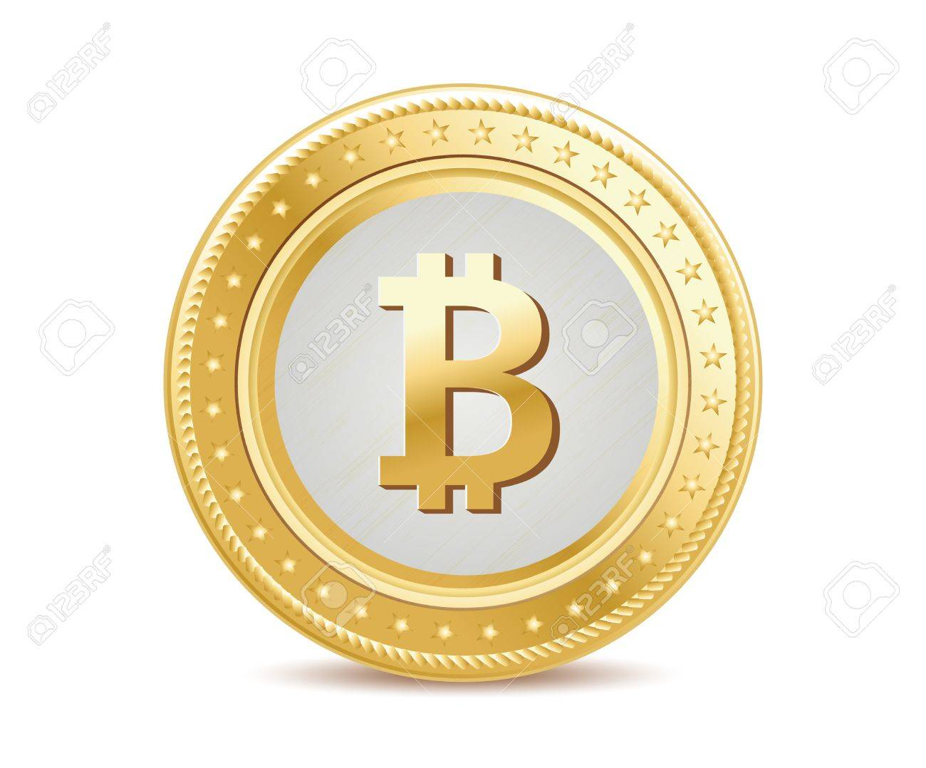 golden isolated bitcoin coin front view on the white background - 55083271