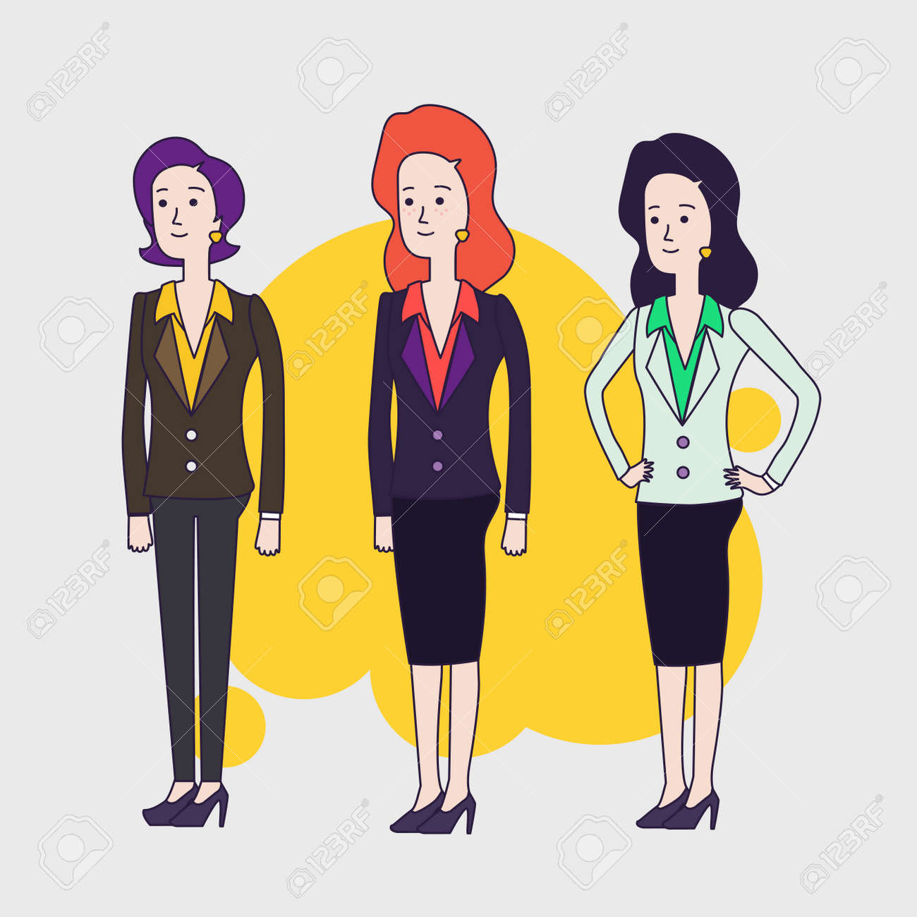 Elegant Business Woman Characters Set Different Hairs And Poses